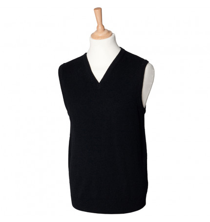 Henbury Sleeveless Lambswool V-Neck Jumper