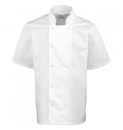 Premier Studded Front Short Sleeve Chef Jacket